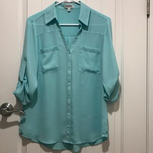 Teal Portofino Blouse from Express